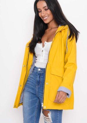 Waterproof Hooded Festival Rain Mac Coat Bright Yellow