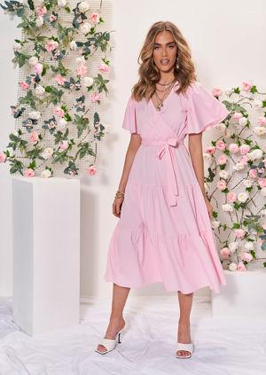 Wrap Over Frill Tiered Waist Tie Midi Dress Pink