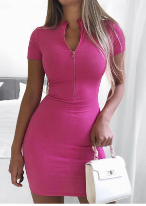 Zip Front Ribbed Bodycon Dress Hot Pink