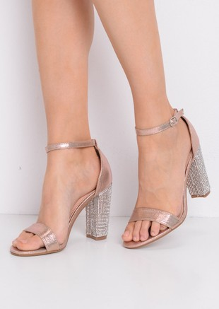 Glitter Diamante Heeled Ankle Strap Heels Rose Gold