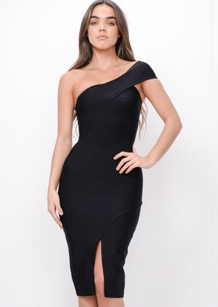 One Shoulder Bodycon Split Front Dress Black