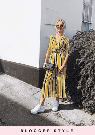 Stripe Tie Front Culotte Jumpsuit Yellow