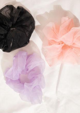 Oversized Mesh Scrunchie Hair Tie Black