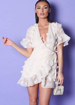 3D Woven Embroidery Mesh Frilled Wrap Front  Dress Beige