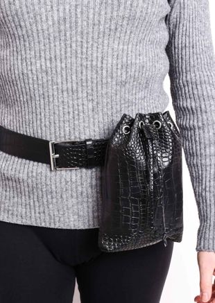 Croc Faux Leather Pouch Belted Bum Bag Black