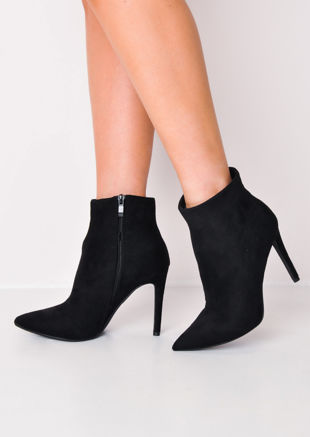 Stiletto Heel Pointed Suede Ankle Boot Black