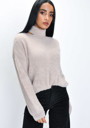 Fluffy Cut Out Neck Knit Jumper Mocha Beige