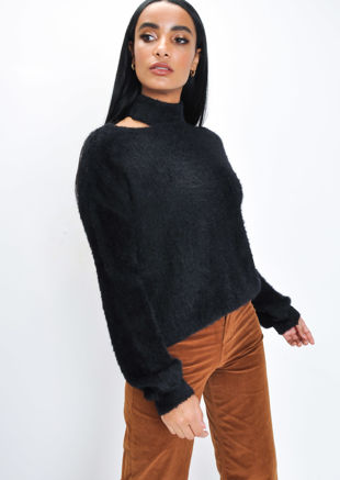 Fluffy Cut Out Neck Knit Jumper Black