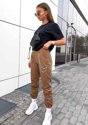 Chain Jogger Trousers Camel Brown