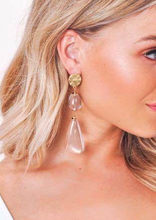 Clear Resin Drop Earrings Gold