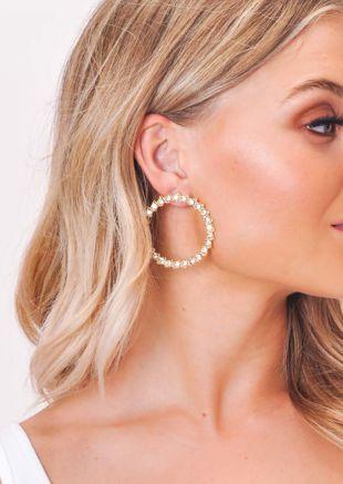 Diamante Circle Earrings Gold