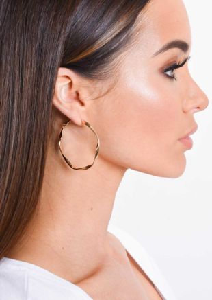 Small Twist Thin Hoop Earrings Gold