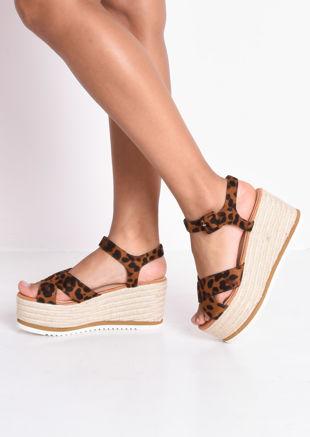 Leopard Print Espadrilles Wedge Sandals Multi