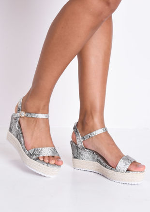 Snake Print Platform Braided Cork Wedge Espadrille Sandals Multi