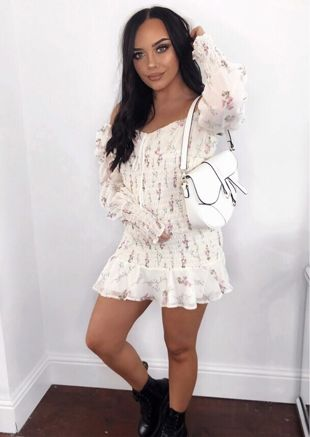 Floral Print Shirred Mini Dress White