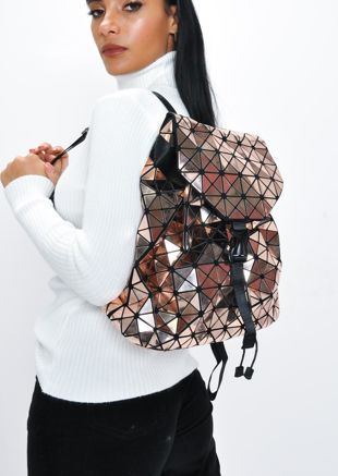 Geometric Backpack Bronze Brown
