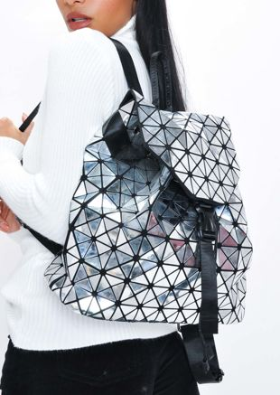 Geometric Backpack Silver Grey