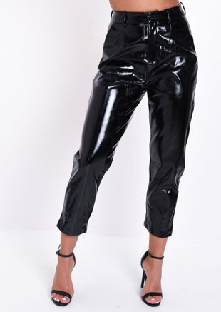 PU High Waisted Slim Leg Trousers Black