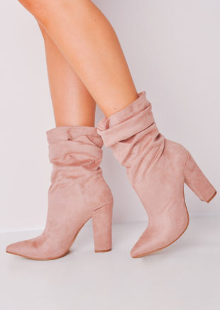 Slouchy Ruched Block Heel Pointed Suede Ankle Boots Pink
