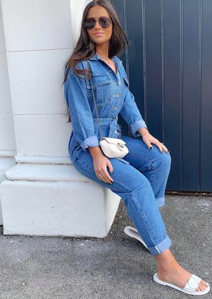 Oversized Denim Belted Utility Boiler Jumpsuit Blue