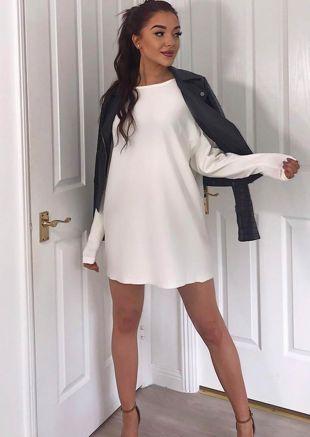 Oversized Knit Sweater Jumper Dress White