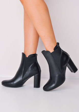 Faux Leather Block Heel Chelsea Ankle Boots Black