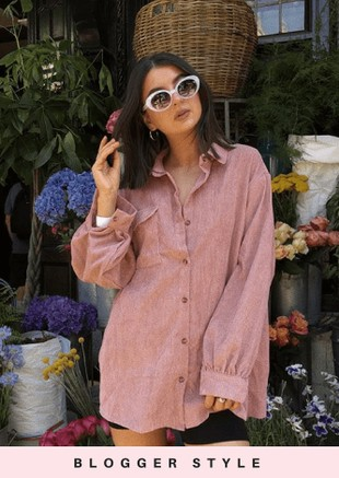 Oversized Corduroy Button Through Shirt Pink