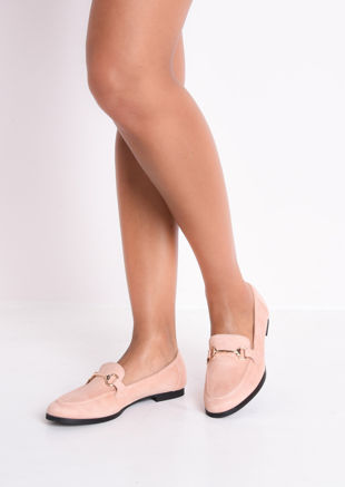 Faux Suede Snaffle Detail Loafer Flat Shoes Pink