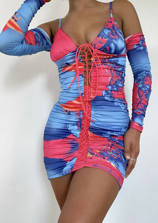 Abstract Print Lace Up Ruched Cold Shoulder Mini Bodycon Dress Multi