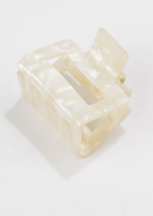 Acrylic Marble Textured Cut Out Mini Hair Claw White