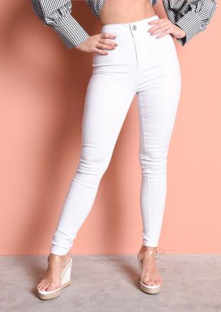 High Waisted Super Skinny Tube Jeans White