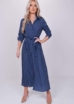 Printed Long Sleeves Shirt Button Down Midi Dress Blue
