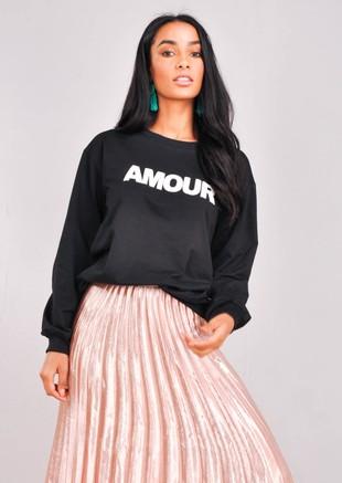 Amour Slogan Sweatshirt Jumper Black