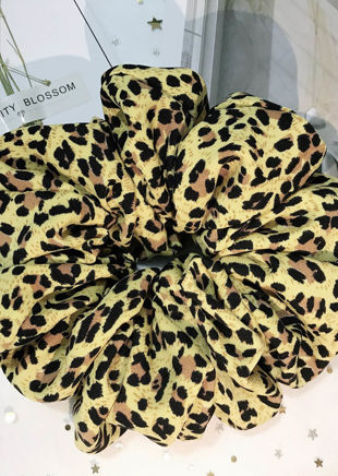 Animal Print Scrunchy Hair Tie Yellow