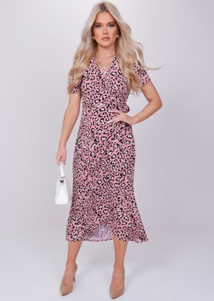 Animal Print Wrap Over Tie Midi Dress Pink
