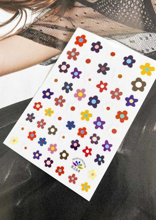 Assorted Flowers Nail Art Stick On Stickers Pack Multi