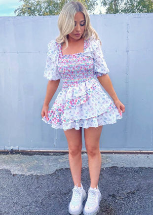 Puff Sleeve Contrast Frilled Floral Tiered Mini Dress White