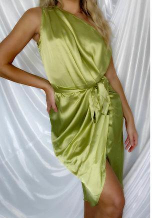 Asymmetric Off Shoulder Belted Satin Wrap Over Maxi Dress Green