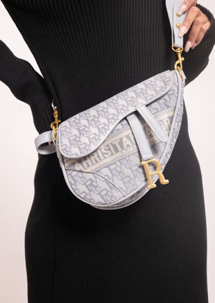 Alphabet Print Faux Leather Saddle Shoulder Bag Grey