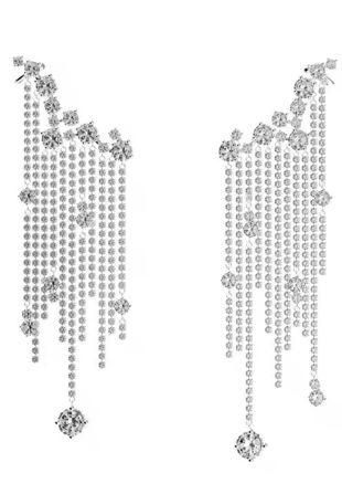 Asymmetrical Diamante Tassel End Clip On Ear Cuffs Silver