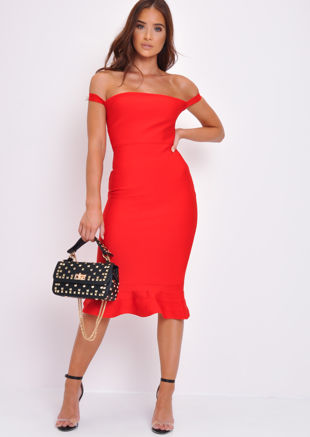 Bandage Frill Hem Bodycon Dress Red