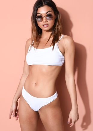Bandeau Bikini Top and Bottom Set White