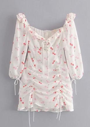 Bardot Drawstring Cherry Print Frill Mini Dress White