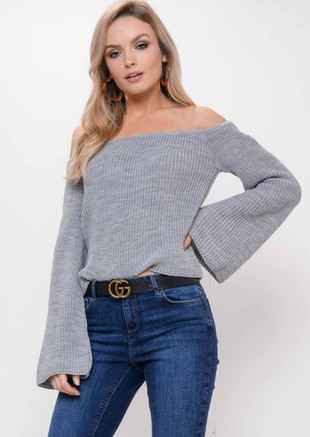 Bardot Flare Sleeve Knitted Jumper Grey