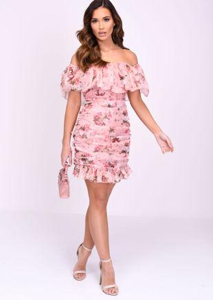 Bardot Frill Ruched Floral Mini Dress Pink