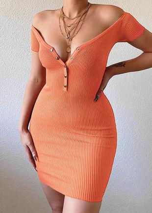 Bardot Snap Fastening Ribbed Mini Dress Orange