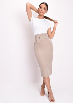 Basic High Waisted Belted Midi Skirt Beige