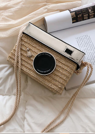 Braided Basket Wicker Camera Tote Bag Beige