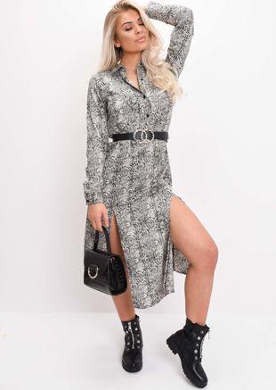 Beige Snake Print Long Sleeve Midi Dress Multi