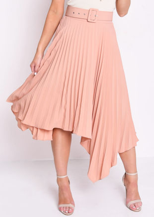 Belted Asymmetric Hem Pleated Midi Skirt Nude Pink